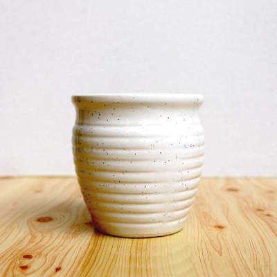 Circle Shape White Dotted Ceramic Pot