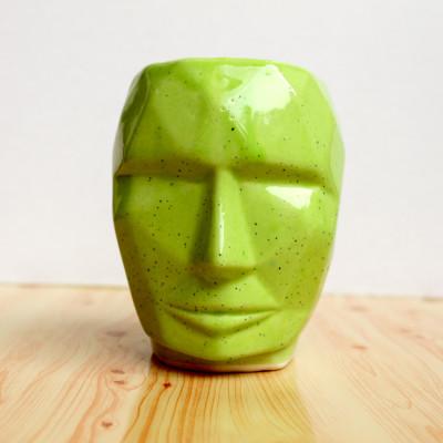 5.5 inch Robot Face Shape Green Ceramic Pot