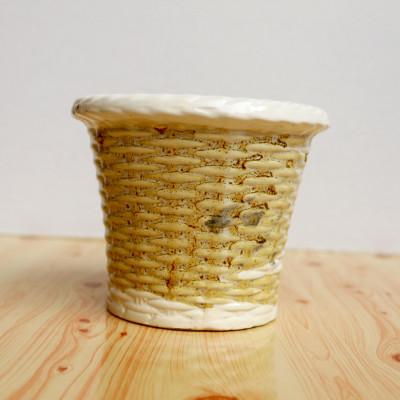4.5 inch Basket Glossy White Shade Ceramic Pot