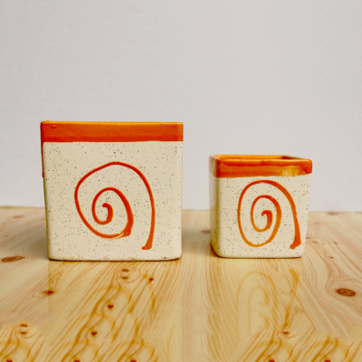 4.5 inch Combo Set Decorative Square Orange Dotted Ceramic Pot