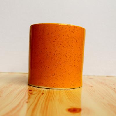 5 inch Glossy Orange Dotted Decorative Cylindrical Ceramic Pot