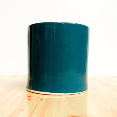 5 inch Glossy Green Decorative Cylindrical Ceramic Pot