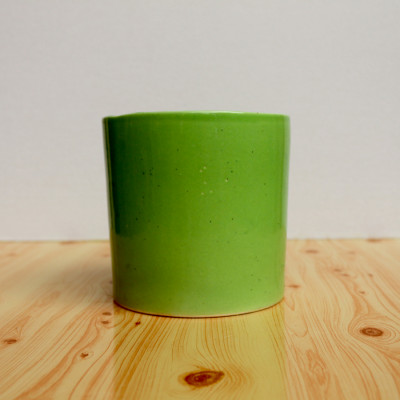 5 inch Glossy Light Green Decorative Cylindrical Ceramic Pot