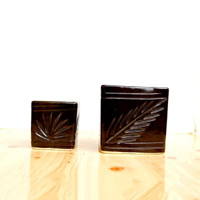 4.5 inch Combo Set Brown Square Ceramic Pot