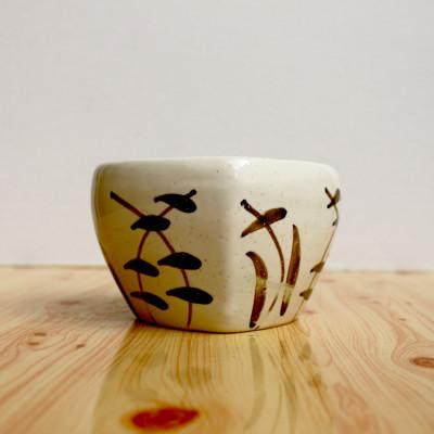 4.5 inch Designer White & Brown Heart Shape Ceramic Pot