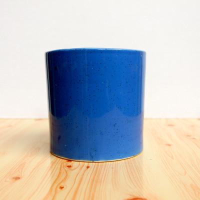 5 inch Glossy Blue Decorative Cylindrical Ceramic Pot