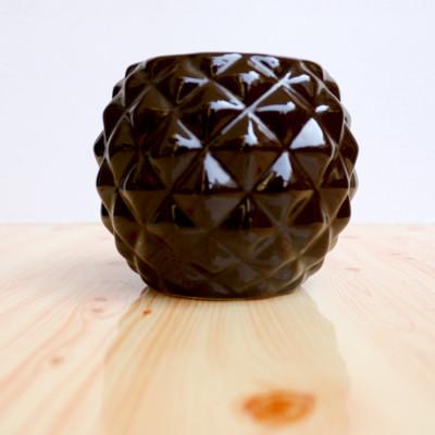 4 inch Diamond Shape Black Ceramic Pot