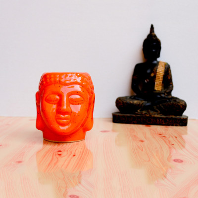 4.5 inch Orange Glossy Buddha Design Ceramic Pot