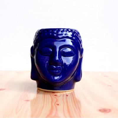 4.5 inch Blue Glossy Buddha Design Ceramic Pot