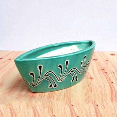 8 inch Boat Shape Green Decorative Ceramic Pot
