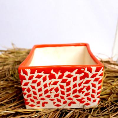 5.5 inch Orange Dotted Square Ceramic Pot
