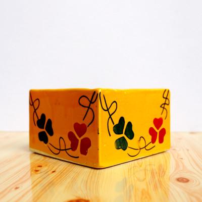 5.5 inch Sqaue Orange Ceramic Pot
