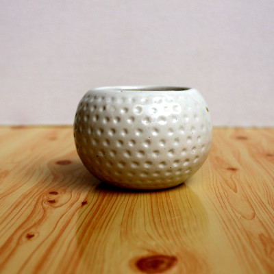 3 inch Football Dotted White Ceramic Pot