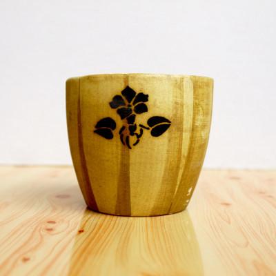 4 inch Wood Finish Ceramic Pot