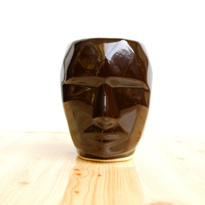 5.5 inch Robot Face Shape Brown Ceramic Pot