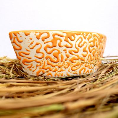 8 inch Boat Shape Orange Decorative Ceramic Pot