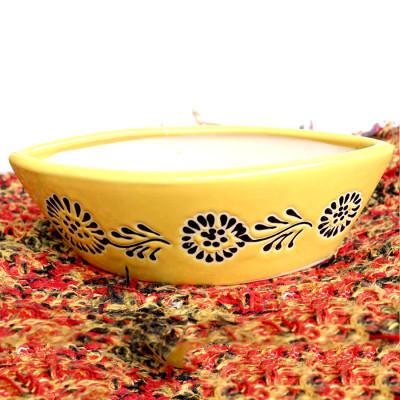 8 inch Boat Shape Yellow Decorative Ceramic Pot