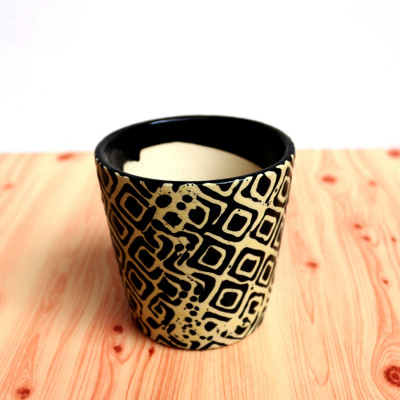 4 inch Black Square design Ceramic Pot