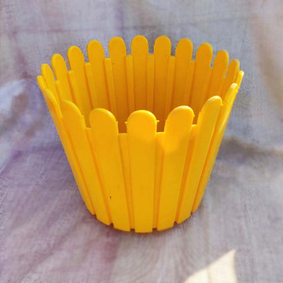 Plastic Icecream stick Yellow Planter