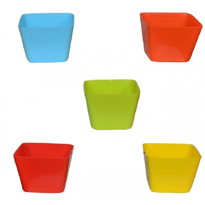 Multicolor Plastic Plant Pots Set of 5 Square Design (4 Inch) Assorted Colors