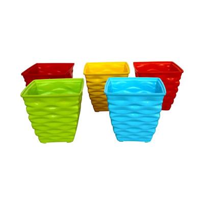 Plastic Diamond Pot Set (Multicolored, 5-Pieces)