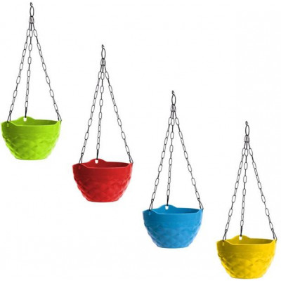 Decorative and Durable Diamond Hanging Pot - Multicolour - Pack of 4