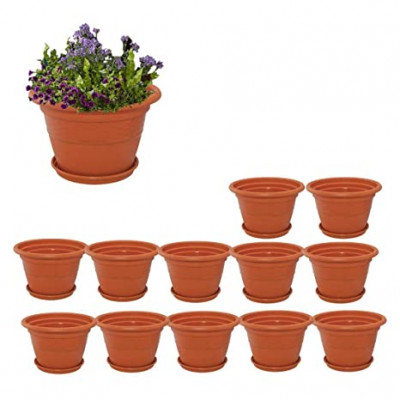 10 inch Heavy Duty Plastic Garden Planters With Bottom Tray (Pack of 12, Plastic)