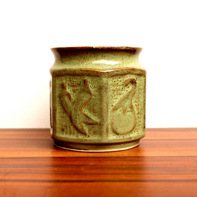 Pentagon Shape Light Green Ceramic Planter