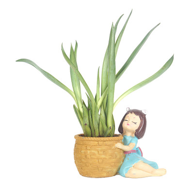 Cute Girl Resin Planter with Agave Plant