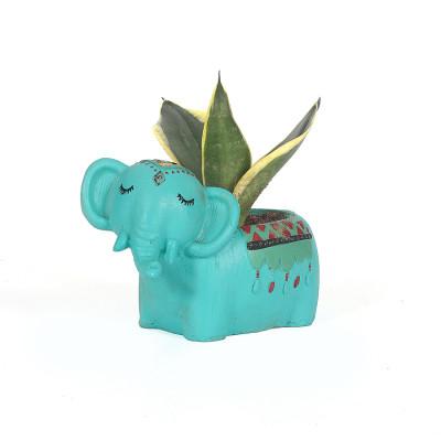 Elephant Resin Pot with Snake - Sanseviera Trifasciata