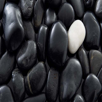 Glossy black pebbles with white touch