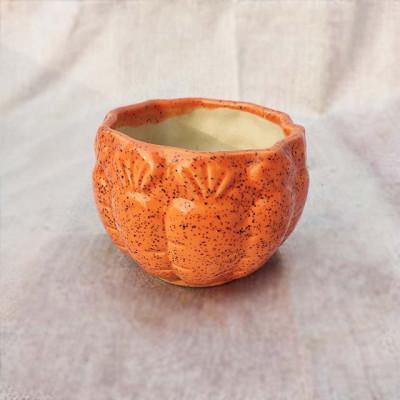 Orange Oval Ceramic Planter