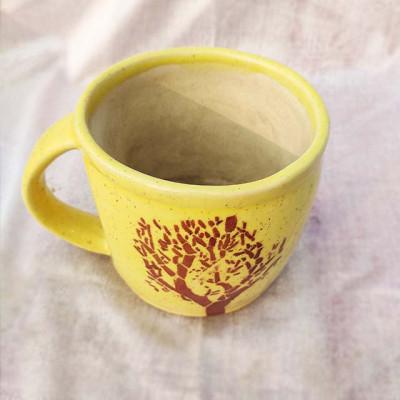 Mug Shape yellow Ceramic Base