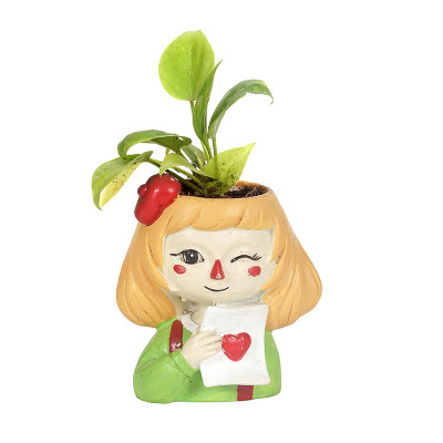 Resin Cute Naughty Winking Girl with Moneyplant Pot Flower Pot Home and Garden Decorative