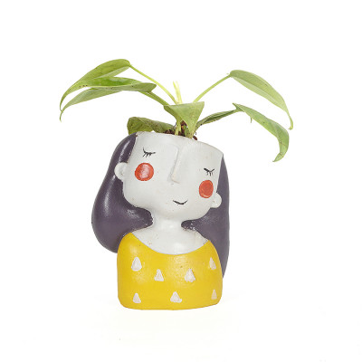 Shy Girl Resin Pot with Exotic Money Plant